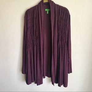 Logo Sweater Size 1X Purple Smocking Front EUC